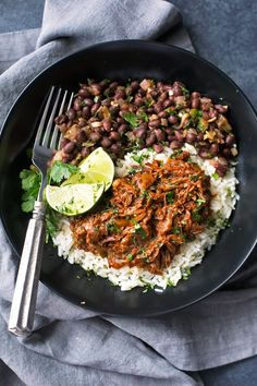 Cuban Black Beans with Cilantro and Lime - These are the perfect accompaniment to white rice and are completely vegan! Slow simmered black beans flavored with cilantro and lime! #cubanblackbeans #frijolesnegros #blackbeans | Littlespicejar.com