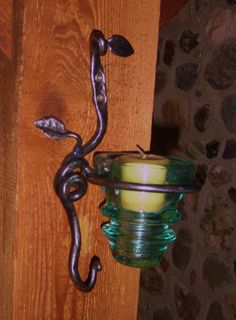 forged wall/post candle / small plant holder with hook.