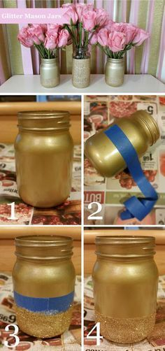 How to make glitter mason jars. Pink and gold. Wedding centerpiece. Bridal shower. #howtomakeweddingcenterpieces
