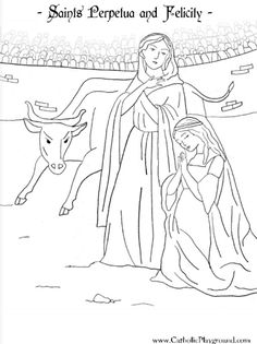 March Color pages Saints Felicity and Perpetua coloring page. Their saint feast day is March