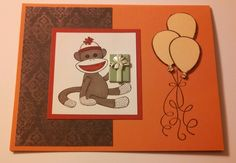 Handmade Sock Monkey Card by CardsBoxes on Etsy