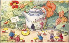 Art - Mice at 'Dainty Teas', Racey Helps  fairies teapot mouse