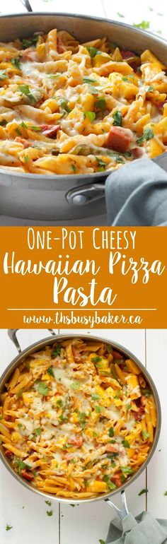 Cheesy One-Pot Hawaiian Pizza Pasta www.thebusybaker.ca