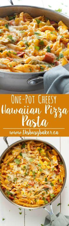 Cheesy One-Pot Hawaiian Pizza Pasta www.thebusybaker.ca