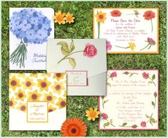 Our Floral Garden Range of wedding Stationery, save the dates, invitations through to reception stationery. www.wearetickledpink.co.uk We have painted flowers for this range, daffodils, roses, gerberas  and some hydrangeas for a floral invite