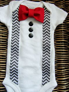 Baby Boy Clothes - Baby Tuxedo Bodysuit - Red Bow Tie With Grey Chevron…
