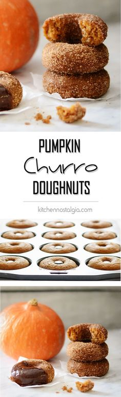 Pumpkin Churro Doughnuts - moist pumpkin cake dough rolled in crunchy and fragrant butter/sugar/cinnamon topping - kitchennostalgia.com