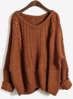 Coffee Plain Round Neck Pullover Sweater