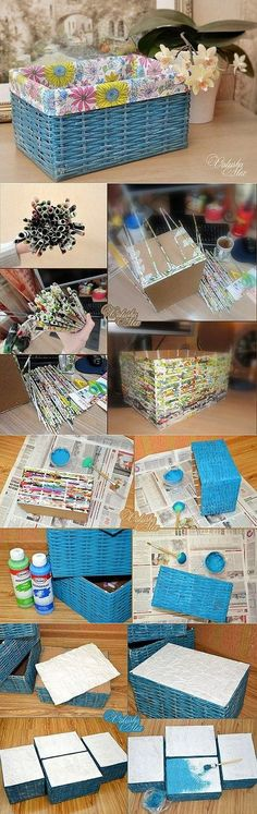 Crafts with their own hands - a wicker box of newspaper tubes, step by step master class Newspaper Basket, Newspaper Crafts, Home Crafts, Diy And Crafts, Arts And Crafts, Paper Weaving, Art N Craft, Cardboard Crafts, Diy Box