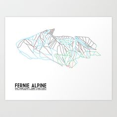 Fernie, British Columbia, Canada - Minimalist Trail Maps Art Print by CircleSquareDiamond - $16.00