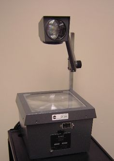 Kids today have no clue what this is. The good old overhead projector.
