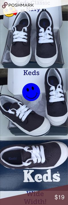 New Keds Toddler Boys Sneaker A Keds Navy Canvas Classic for Boys in both 8W and 10W! Keds Shoes Sneakers