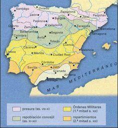 Repoblación cristiana en la Península Ibérica: mapa de tipologías.
