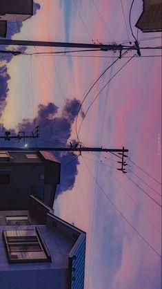 Anime Scenery Wallpaper, Landscape Wallpaper, Aesthetic Pastel Wallpaper, Aesthetic Backgrounds, Wallpaper Backgrounds, Aesthetic Wallpapers, Nature Aesthetic, City Aesthetic, Pretty Sky
