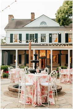 Our cafè lights illuminated the patio at this beautiful wedding reception with pastel pink accents! Our café lights come in black and white to fit the vibe of your event! See more of our cafè lights on our website! #SummerWeddings #CharlestonSC #WeddingInspiration #OutdoorReception #ChicWedding #CharmingWedding #LightingIdeas