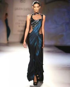 Teal Blue shimmer saree gown