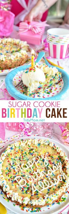 Do you love sprinkles in your birthday cake? This BIRTHDAY SUGAR COOKIE CAKE full of sprinkles!  Funfetti lovers are going to flip for this homemade cookie cake. recipe at TidyMom.net