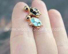 Tiny Blue Turtle Tragus Earring JewelryTiny Black by woodredrose