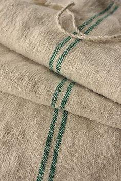Vintage GRAIN SACK GREEN twill hemp homespun bag WASHED linen RARE