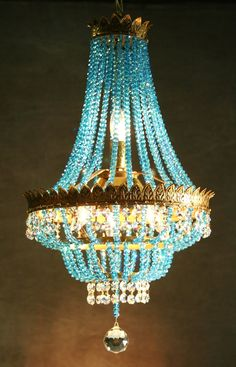 Vintage gilt petite French crystal chandelier with aqua crystal strands | ~LadyLuxury~