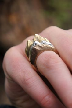 Tri-tone Mountain Ring Set Made to order от SophieDivett на Etsy