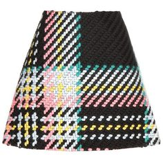 Marni Wool and Cotton-Blend Mini Skirt found on Polyvore featuring skirts, mini skirts, multicoloured, marni, multicolor skirt, short skirts, multi colored skirt and wool skirt