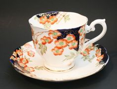 Royal Albert Crown China Tea Cup Saucer Fine Bone China England Blue Orange #RoyalAlbert
