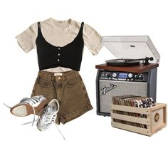 record store by kampow on Polyvore featuring James Perse, Forte Forte, American Apparel, Crosley, Dot & Bo, indie, Punk, grunge, art and aesthetic