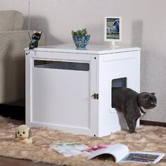 where to keep a litter box in a small apartment, make it double duty by combining an end table with a enclosed litter box