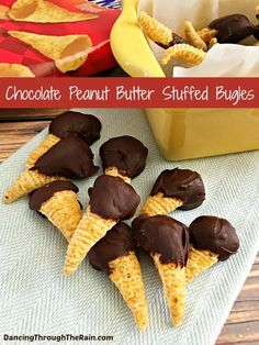 These Chocolate Dipped Peanut Butter Stuffed Bugles are amazingly delicious and easy to make! Serve this dipped Bugles dessert recipe at a party, a barbecue or for a birthday! Party Desserts, Just Desserts, Delicious Desserts, Yummy Food, Potluck Desserts, Potluck Ideas, Delicious Chocolate, Candy Recipes, Snack Recipes