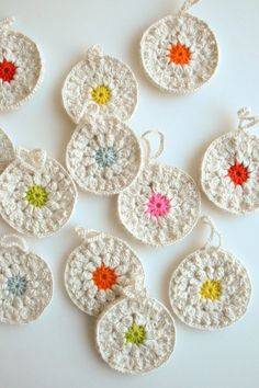 Cute Crochet Ornaments -- Whit's Knits: Snowflower Ornaments - The Purl Bee - Knitting Crochet Sewing Embroidery Crafts Patterns and Ideas! Purl Bee, Crochet Ornaments, Crochet Crafts, Crochet Projects, Sewing Crafts, Flower Ornaments, Snowflake Ornaments, Crochet Garland, Crochet Snowflakes