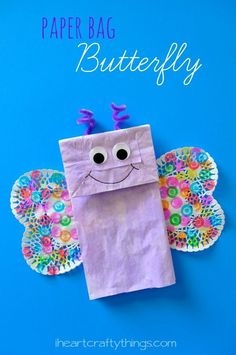 Paper Bag Butterfly Craft for kids from iheartcraftythings.com. Adorable spring craft or for learning about butterflies or insects.