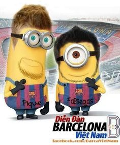 Pique and Cesc Fc Barcelona, Minions, Projects To Try, Fictional Characters, Minion Stuff, Celebs, Pictures, Pique, The Minions