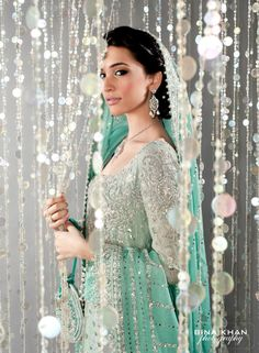 Pakistani Bridal - Bunto Kazmi for Valima - Mint Green