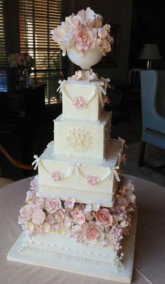 Pink and White WEDDING CAKE. I think it would look amazing in the colors mint & coral Amazing Wedding Cakes, Elegant Wedding Cakes, Elegant Cakes, Amazing Cakes, Floral Wedding, Cupcakes, Cupcake Cakes, Square Wedding Cakes, Wedding Cake Designs