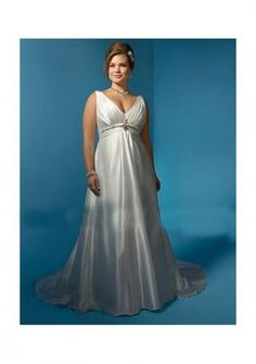 Satin Sexy V-neck Plus Size Fashion With Rouched Bodice And Beaded Waistline In Semi Cathedral Train 2011 New Custom Made Bridal