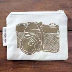 Organic cotton zip pouch by slidesideways on etsy