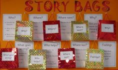 Literacy help: Alan Peat story bags - How to develop story writing and literacy skills in younger children. Handwriting for kids teaching. Literacy Display, Teaching Displays, School Displays, Classroom Displays, Phonics Display, Writing Area, Kids Writing, Teaching Writing, Teaching Career