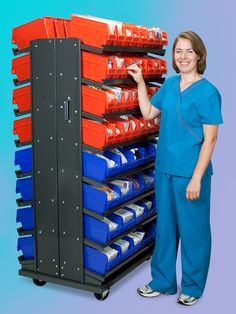 This Hospital Uses Akro Mils Akrobins On Mobile Louvered Racks To Organize And Co Medical