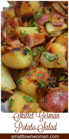 This Skillet German Potato Salad is darn near the best potato recipe I have ever made. So savory and full of so much flavor.