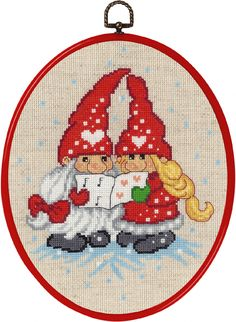 Singing Elves from Permin counted cross stitch kit. The final design is x in size. Hedgehog Cross Stitch, Santa Cross Stitch, Beaded Cross Stitch, Counted Cross Stitch Kits, Mini Christmas Ornaments, Christmas Cross, Christmas Elf, Cross Stitch Designs, Cross Stitch Patterns