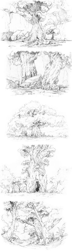 Ideas Nature Landschaft Zeichnung - New Ideas Tree Sketches, Drawing Sketches, Pencil Drawings, Art Drawings, Sketching, Arte Sketchbook, Landscape Drawings, Landscape Design, Landscapes