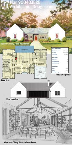 Architectural Designs Modern Country House Plan 900403BRB has a symmetrical facade, an open and vaulted interior and over 2,300 square feet of heated living space. Ready when you are. Where do YOU want to build?