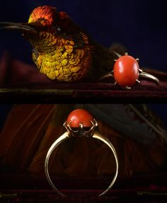 1890s Coral Ring, 10K Gold (sold)
