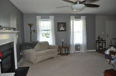 """Our bedroom color Behr """"Anonymous"""" in a similar colored room House, Family Room, Grey Walls, Home Decor, Home Office Design, Baby Nursery Decor, Bedroom Colors, Kitchen Paint Colors, House Colors"""
