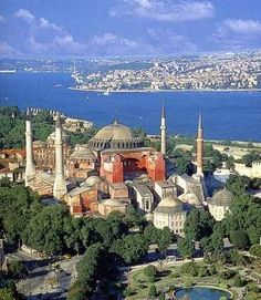 Hagia Sophia, Mosque in Istanbul, Turkey, city of 20,000,000, the water is sapphire blue.