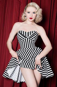 AmazonSmile: 1950s Rockabilly Vintage Style Black & White Striped Women's Dress: Clothing