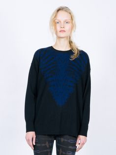 Black/Blue Cashmere Crew Pullover | Raquel Allegra