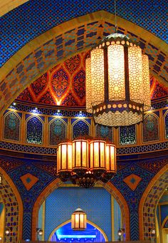 ,Beautiful decorated ceiling and lanterns in m Moorish style