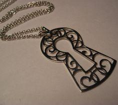 Keyhole pendant art nouveau scrollwork in sterling silver via Etsy
